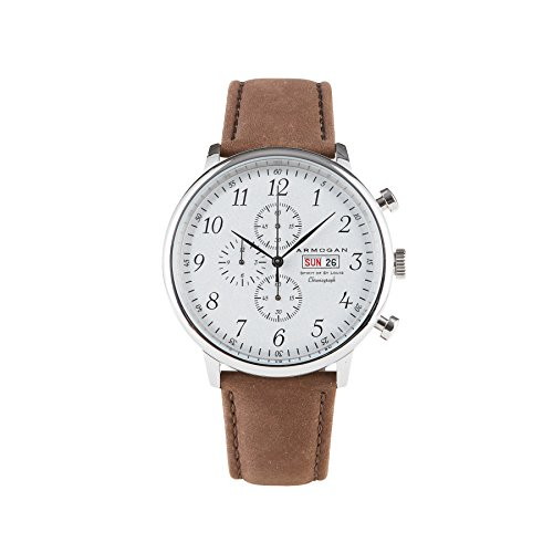 Dial Flight Chronograph White (Armogan Spirit of St. Louis - White Chocolate - Men's Chronograph Watch Suede Leather Strap)