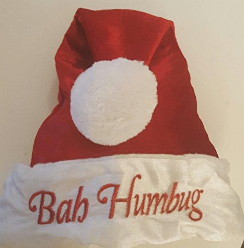 Bah Humbug Red Adult Santa Hat Pom Pom 17 inches ()