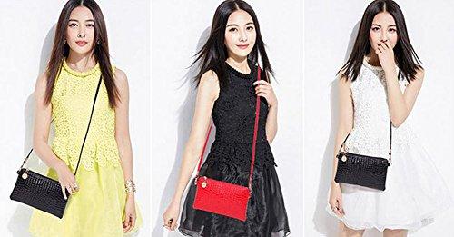 Rosa Mujer Bandolera Navidad Moda Piel LAAT Artículos Roja de Negro Niñas para 1PCS Llevar Cotidiano para Mini Uso CwqFFaX1