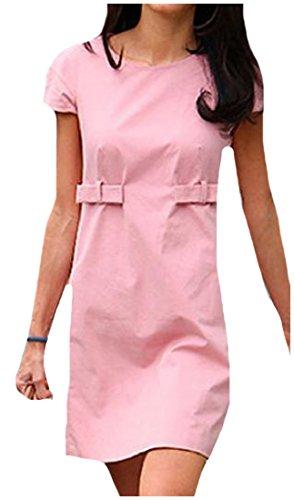 Vestito Rosa Semplice A Aderente Mini Manica Coolred Tendenza Solido Womens Corta qwO8v5xf