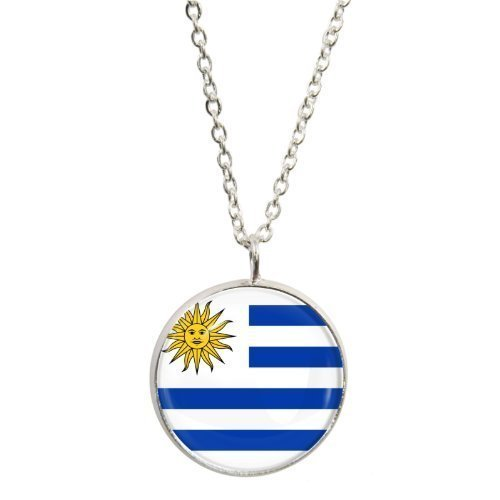 Uruguay Flag Design Pendant and Silver Plated Necklace Set (Oriental Design Necklace Set)