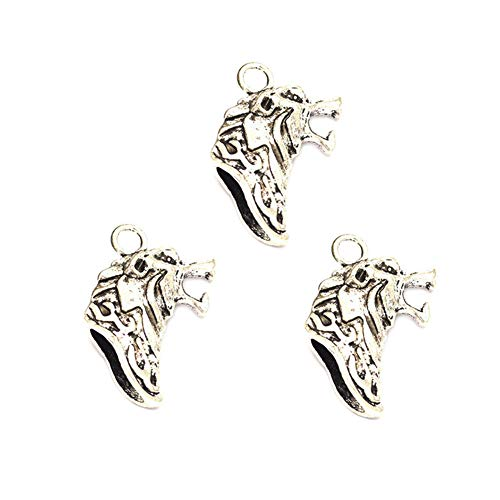 - 10pcs Vintage Antique Silver Alloy Animal Wolf Head Charms Pendant Jewelry Findings for Jewelry Making Necklace Bracelet DIY 34x12mm (10pcs Wolf Head)