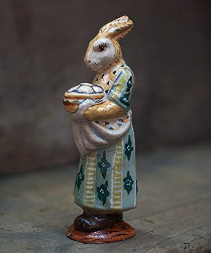 Vaillancourt Folk Art Rabbit with Bowl of Hot Eggs