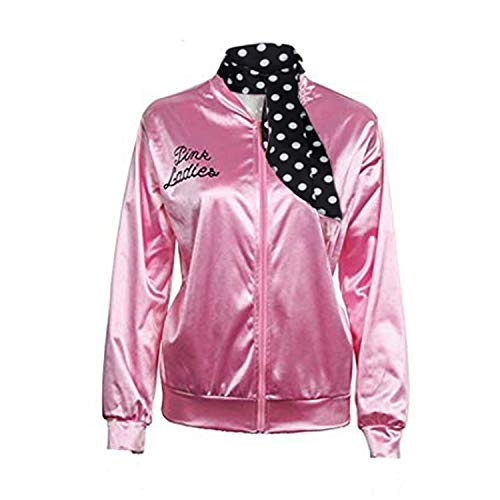 COSHKY 50S Pink Satin Jacket Women T Bird Danny Halloween Costume with Neck Scarf, XXL -