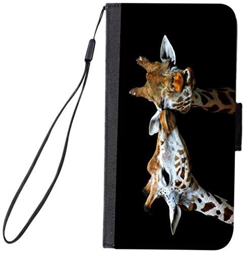 Rikki Knight Magnetic Clasp Closure Folio Case for Apple iPhone 7 Plus/ iPhone 8 Plus - Kissing (Black Giraffe Wallet)