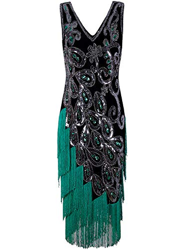 Vijiv Women's Vintage 1920s Style Beaded Flapper Dress Inspired Downton Abbey Gatsby Gown Green Small (Peacock Party Dress)