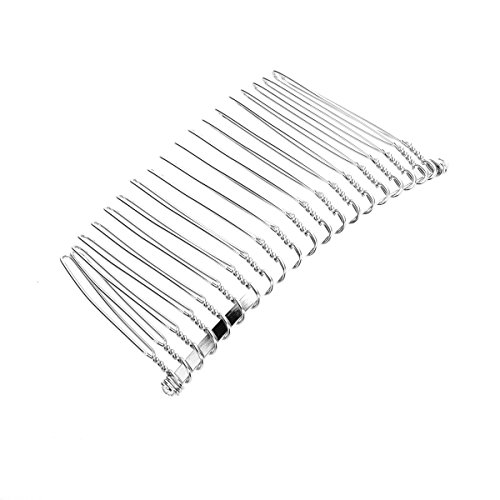 tinksky 7 8cm 20 teeth fancy diy metal wire hair clip comb