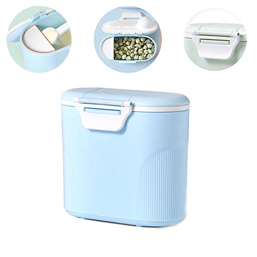 Travel Milk Powder Storage Box with Scoop, YEEHO Portable Infant Formula Food Container with Spoon Airtight BPA Free Case Easy go Parents Choice Sealed Flour Case,Blue