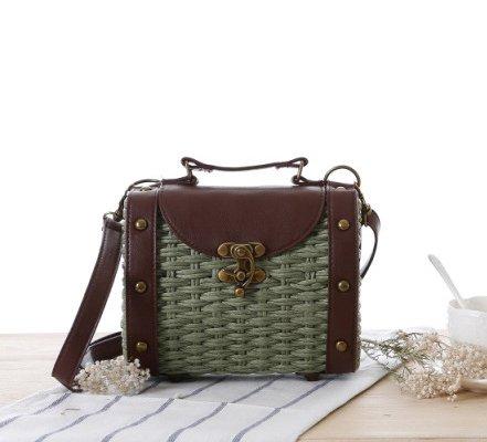 Tonwhar Style Woven Army green Box Small Portable Shoulder Baroque Messenger Rivet Retro Bag ffTqrwB