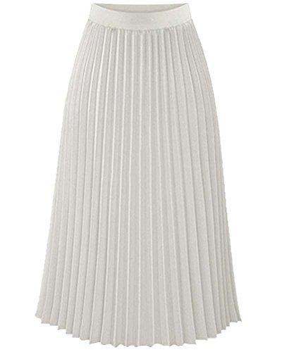 Robe Vintage Rtro Mousseline Plage Longue Maxi Femme Blanc Jupe Pliss 8dqxBZZUw