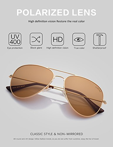 LUENX Womens Mens Aviator Sunglasses Polarized Brown Amber Lenses Gold Metal Frame UV400 Protection Classic Style by LUENX (Image #1)