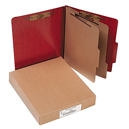 15006 8 1/2'' x 11'' Red 6-Section Presstex Classification Folder with Prong Fasteners and 2/5 Cut Tab, Letter - 10/Box