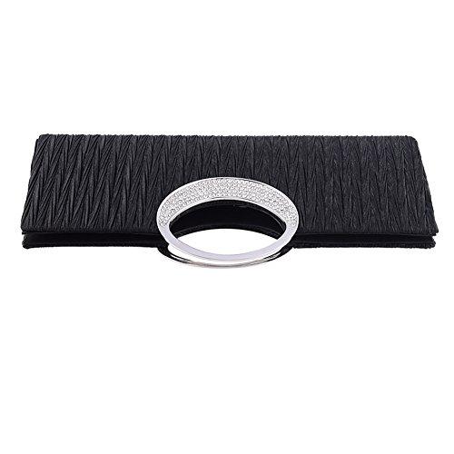 Party Rhinestone Wallet Clutch Jubileens Satin Luxury Black Pleated Evening Handbag Wedding Purse TxRw4Y5q