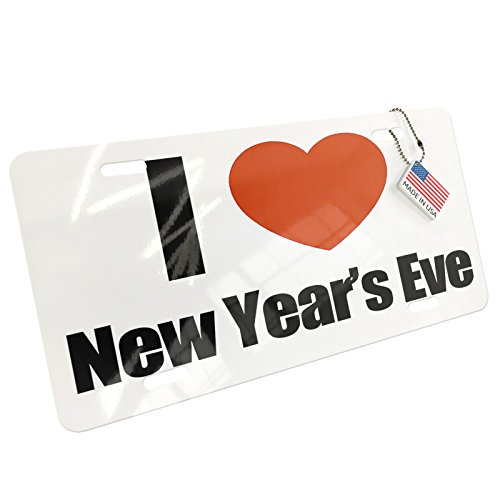 Metal License Plate I Love New Years Eve - Neonblond