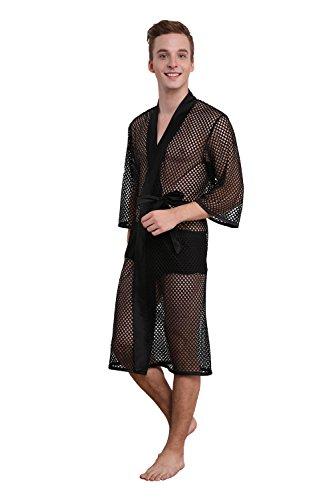D Amp P Men S Sexy Mesh Bathrobe Sleepwear Pajamas Bath Robes