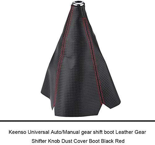 EVGATSAUTO Universal Car Manual PU Leather Gear Gaiter Shift Shifter Boot Replacement Red Stitch Gear Gaiter Boot Cover