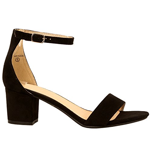 Image of Guilty Heart | Womens Ankle Strap Single Band Sandal | Low Chunky Block Comfortable Office Heeled Sandals