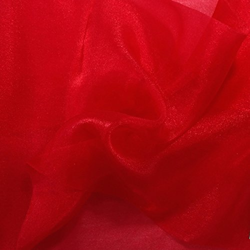 (Sparkle Crystal Sheer Organza Fabric Shiny for Fashion, Crafts, Decorations 60 (Red, 1 Yard))