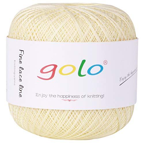 Crochet Thread Yarns for Begingers Size10-100% Contton Yarn for Knitting Crochet DIY Hardanger Cross Sitch Crochet Thread Balls Rainbow Turquoise 39 Colors Avilable (Lighut Yellow) ()