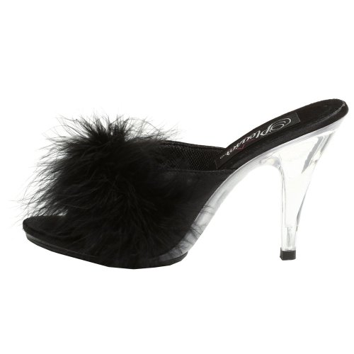 Fabulicious CARESS-401F Blk Satin-Fur/Clr Size UK 9 EU 42
