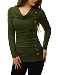 Allegra K Women Cowl Neck Long Sleeves Buttons Decor Ruched Top
