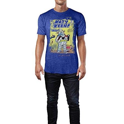 SINUS ART® Katy Keene Herren T-Shirts stilvolles blaues Cooles Fun Shirt mit tollen Aufdruck