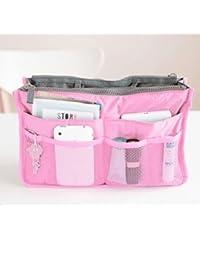 Nylon Handbag Insert Comestic Gadget Purse Organizer, Expandable w/ Handles (Pink)