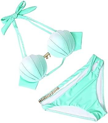 ANFAY Mujeres Shell Bra Bikinis Conjunto de Traje de baño ...