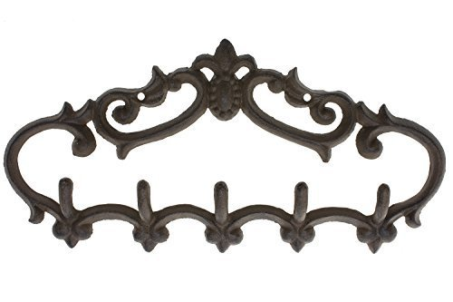 Comfify Cast Iron Wall Hanger – Vintage Design with 5 Hooks - Keys, Towels, etc - Wall Mounted, Metal, Heavy Duty, Rustic, Vintage, Decorative Gift Idea - 12.9 x 6.1""