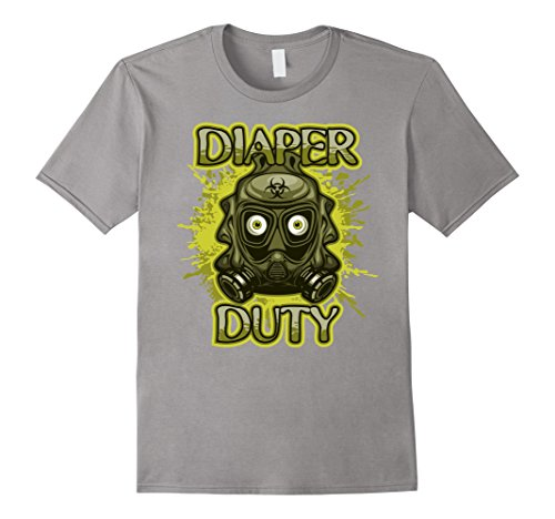 Mens Diaper Duty Baby Changing Time T-shirt Medium Slate