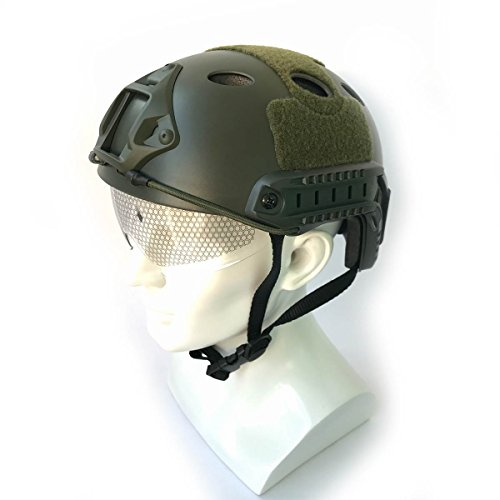 Army Military Style SWAT Combat PJ Fast Helmet w/ Protective Goggles OD Green for CQB Shooting Airsoft Paintball (OD - Pj Helmet Style