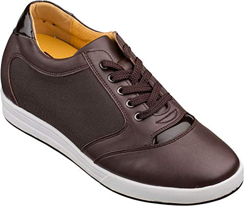 Men's Invisible Height Increasing Elevator Shoes - Dark Brown Leather/Mesh Lace-up Casual Fashion Sneakers - 3.2 Inches Taller - A53271