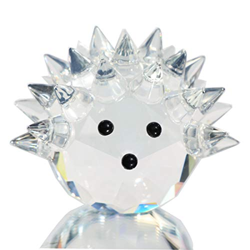 Waltz&F Clear Crystal Hedgehog Collectible Figurine Mini Animal Statue