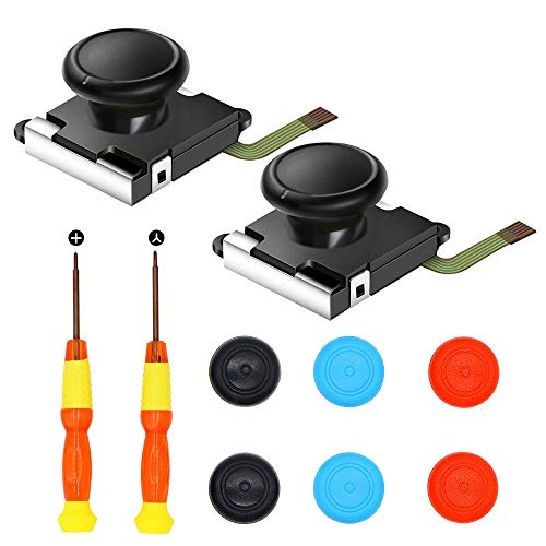 2-Pack 3D Analog Joystick,Replacement for Nintendo Switch Joycon ThumbStick Controller - Include Tri-Wing & Cross Screwdriver Tool + 6 Colorful Thumbstick Caps