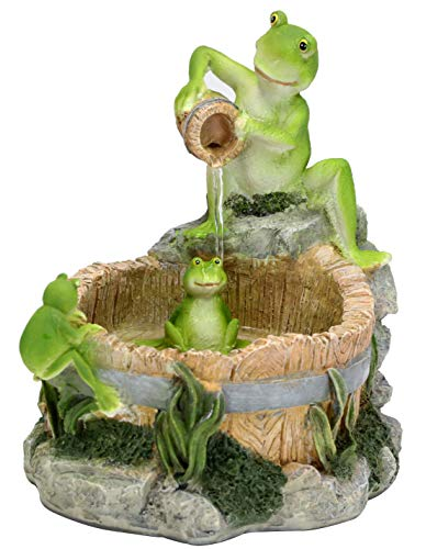 Fern Creek Froggies' Bathtime Tabletop Fountain, Frog Fountain Indoor, Frog Tabletop Fountain, Decorative Water Fountain, 10 W x 12 D x 10 H inches