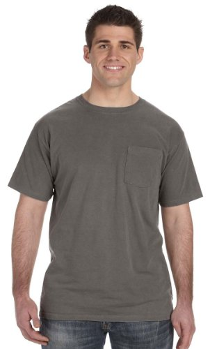 Authentic Pigment Mens Pigment & Direct-Dyed Pocket T-Shirt, SMOKE, Large (Mens Pigment)