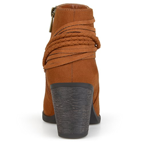 Journee Collection Dames Hoge Hakken Strappy Chunky Hak Enkellaarsjes Bruin