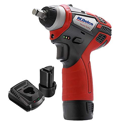 "ACDelco 3/8"" Power Impact Wrench 90ft-lbs LED Light Cordless Li-ion 12V Max Compact Tool, Kit with 2 Batteries, Charger, G12 Series - ARI12104"