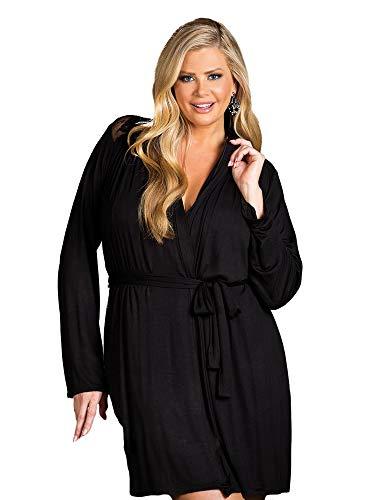 (Womens Plus Size Soft Long Sleeve Short Lace Robe Sleepwear )