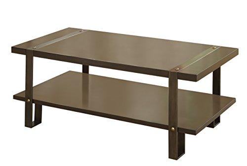 Dark Oak Cocktail Table (Furniture of America Barrett Rustic Coffee Table, Dark Oak)