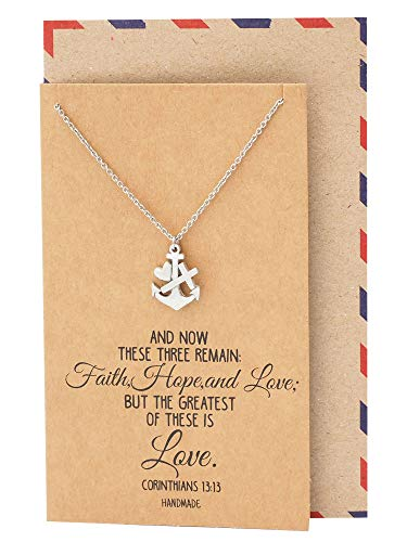 (Quan Jewelry Faith Hope and Love Necklace with Heart Anchor Cross Crucifix Pendant, Nautical Pirate Inspired Charm, Religious Jewelry, Gifts for Women with Inspirational Quote on Greeting)