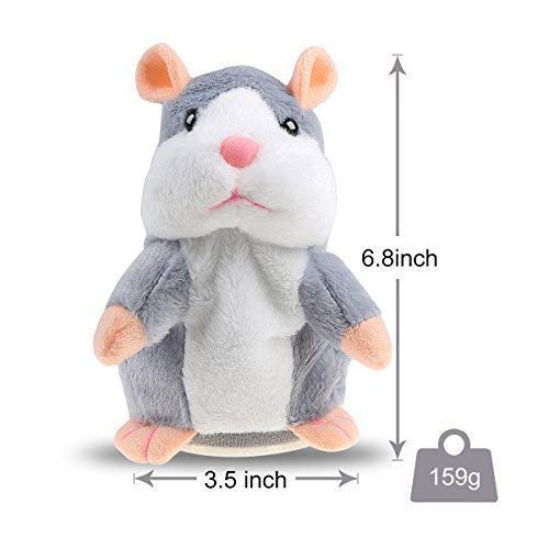 Talking Hamster Plush Toy, Repeat What You Say Funny Kids Stuffed Toys, Talking Record Plush Interactive Toys for, Birthday Gift Kids Early Learning