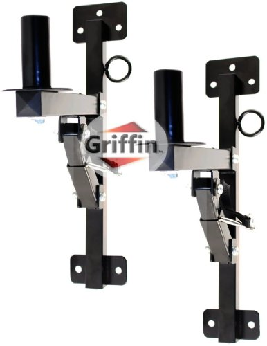 Premium PA Speakers Wall Mount Brackets By Griffin - Set Of 2 Professional All Steel Audio Speaker Holders - With Securing Locking Pin & 3 Horizontal Level Tilt Adjustments - 180 Lbs Weight Capacity