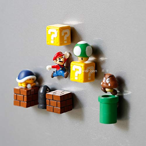 VIETCJ 10Pcs Sup3R Marie Bros Magnets Figure Toys Ma Bullet Mushroom Tortoise Creative Magnetic Stickers Refrigerator Action Figure - Legends Gifts Movies Comic Toys Collection ()