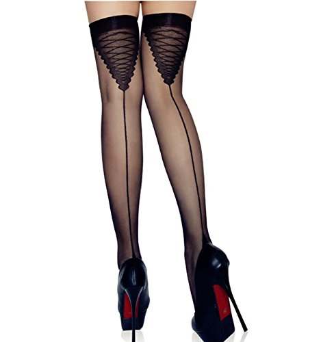 Vintage Cuban Sheer Thigh Highs Silk Stockings With Back Seam Heel Stockings For Women Black (Black) ()