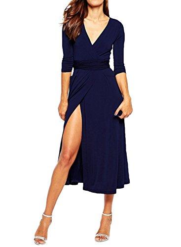 ACHICGIRL Mujer Midi Vestido Abertura Alta Mangas 3/4 con Cuello V Marino