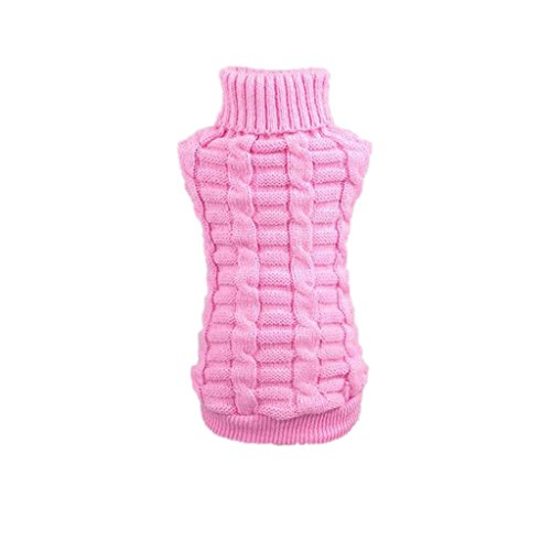 Farjing Puppy Clothing, Pet Dog Clothes Winter Woolen Sweater Knitwear (XL,Pink ()