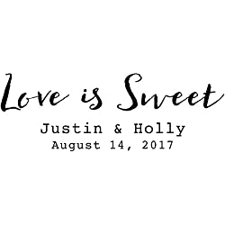 Cursive Love is Sweet Date of Wedding Stamp - Personalized Love is Sweet Design w/ Couple Names and Date - Self Inking Wedding Invitation Stamps