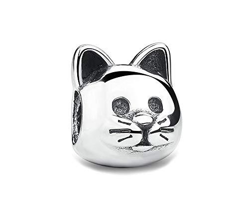 MiniJewelry Curious Cat Silver Charm for Bracelets Sterling Silver Animal Kitten - Kitten Sterling Charm Silver
