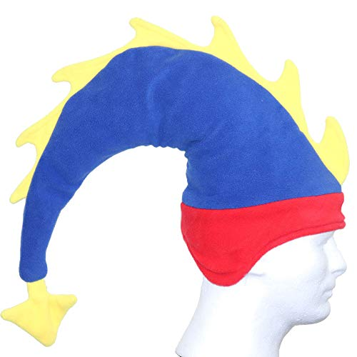 Funkeet Crazy Long Plush Spike Dragon Stegosaurus Tail Hat Fun Party Costume Cap (for Adult, Red + Blue)